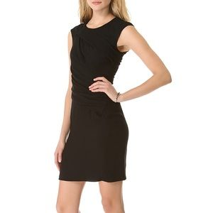 Helmut Lang Silk Flash Drape Twist Dress in Black